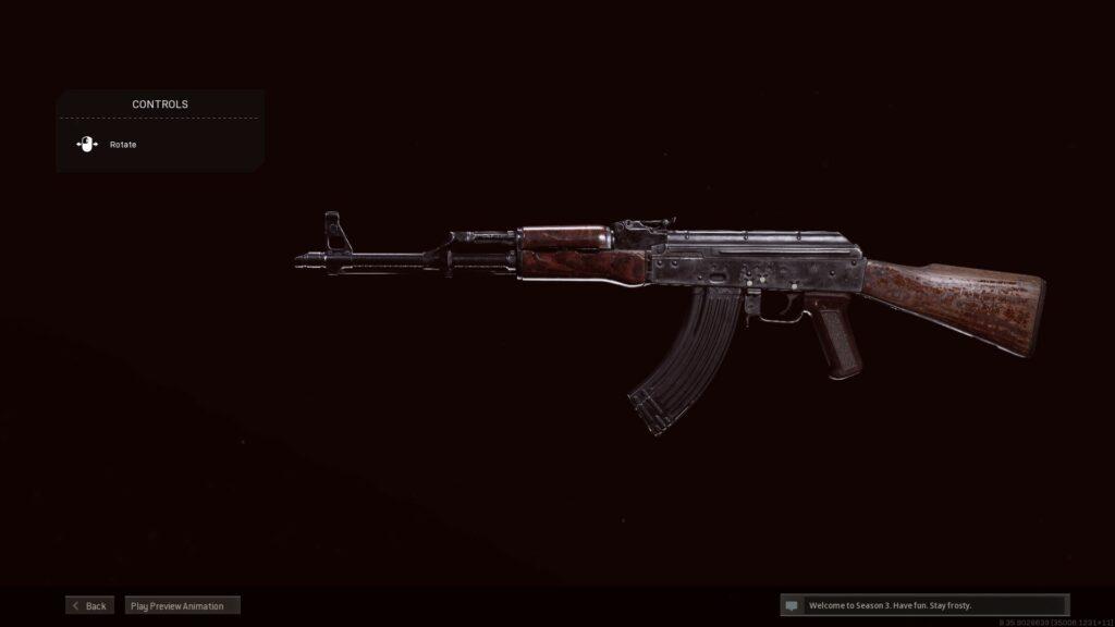 Screenshot of AK-47 in Call of Duty: Warzone
