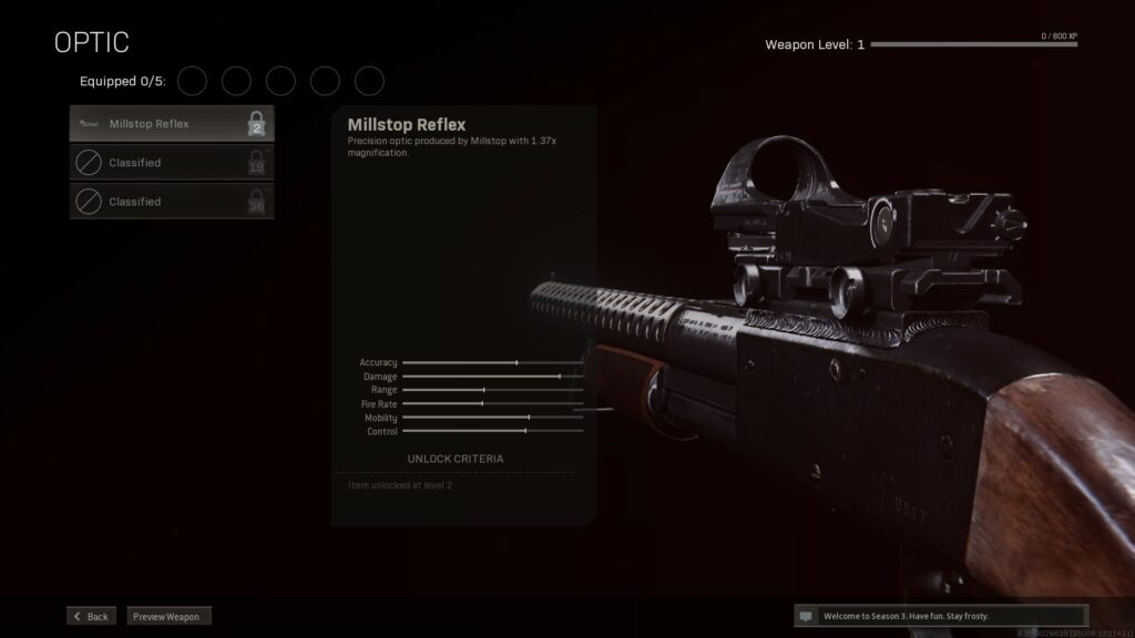 Screenshot of Locked Attachment in Call of Duty: Warzone
