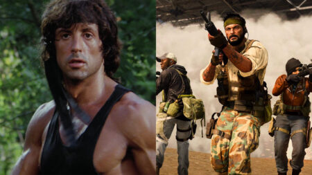 Side by side of Rambo from Rambo First Blood Part 2 and characters from Call of Duty: Warzone