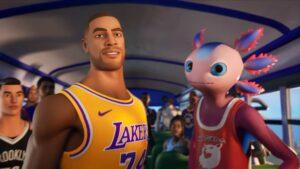 Screenshot of Laker skins Axolotl skin in the NBA Fortnite Crossover teaser