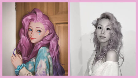League of Legends, Twice Chaeyoung, Seraphine, pink hair