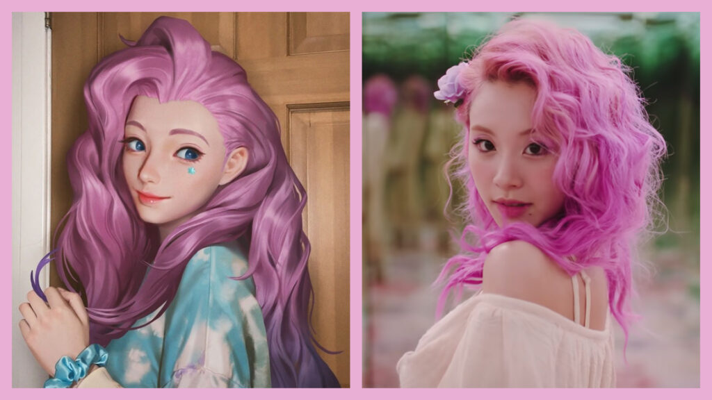 League of Legends, Twice Chaeyoung, pink hair, Seraphine