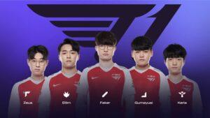 Faker Zeus line-up of T1